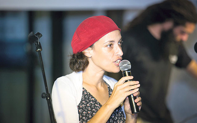 Tehila Nachalon — who served as the former Central federation's representative in Israel — addresses a gathering of the Yerushalmit Movement, which she helped found to build bridges among the diverse communities of Jerusalem.