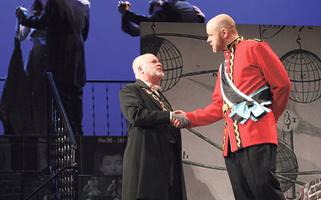Mark Zuckerman, left, as the Prime Minister in the Center for Contemporary Opera production of Michael Dellaira's The Secret Agent with Andrew Cummings as the Ambassador.