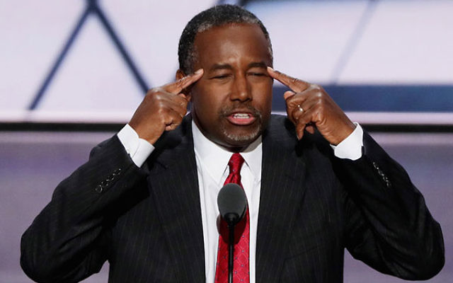 Former Republican presidential candidate Ben Carson speaking on the second day of the Republican National Convention at the Quicken Loans Arena in Cleveland, Ohio, July 19, 2016. (Alex Wong/Getty Images)