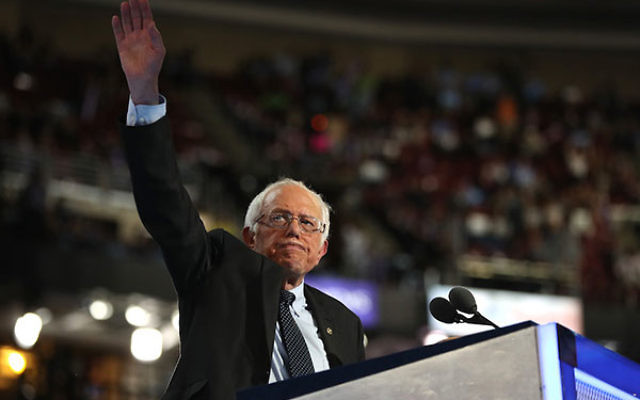 Bernie Sanders speaking on opening night of the Democratic National Convention at the Wells Fargo Center in Philadelphia, July 25, 2016. (Joe Raedle/Getty Images)