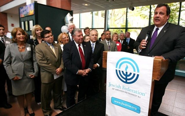 Gov. Chris Christie announced new state sanctions against Iran at a 2012 gala in Whippany celebrating the merger that created the Jewish Federation of Greater MetroWest NJ.