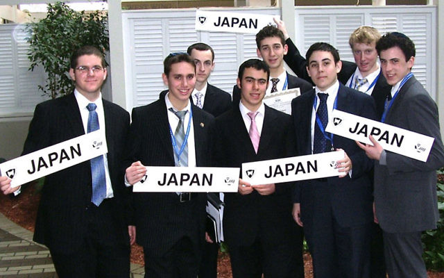 The JEC Rav Teitz Mesivta Academy team who took part in Yeshiva University's Model UN, were, from left, front row, Ben Mandel, Dani Weiss, Joshua Azar, Aaron Javitt, and Shaul Elson, and, back row, Hirshel Hall, Shaul Lesher, and Binyomin Weiss.