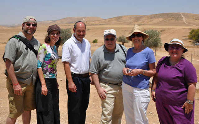 Mission members, from left, Eric Harvitt, Tehila Nahalon, Stanley Stone, Bob Kuchner, Eleanor Rubin, and Phyllis Kuchner checked out current and potential projects in the Negev region.