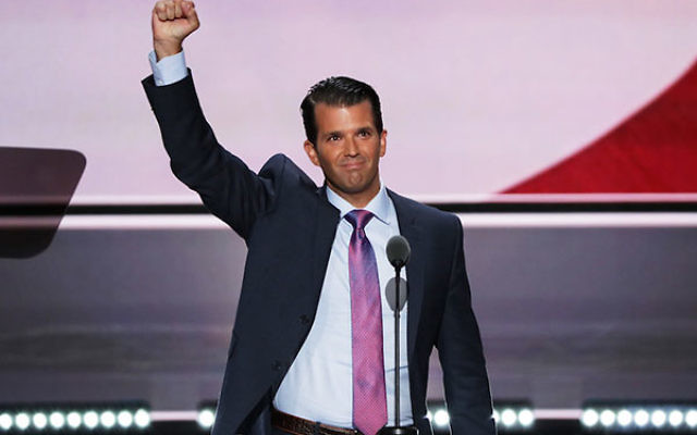 Donald Trump Jr. gesturing to the crowd after delivering a speech on the second day of the Republican National Convention, July 19, 2016. (Alex Wong/Getty Images)