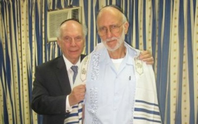 Rabbi Arthur Schneier, left, meets with U.S. subcontractor Alan Gross in the Havana prison facility where Gross was being held, March 6, 2012. (Courtesy Appeal of Conscience Foundation)
