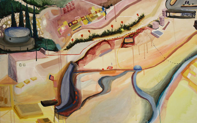 Works by Dara Alter include her skyview painting Hebrew University, Givat Ram. Photos courtesy Dara Alter