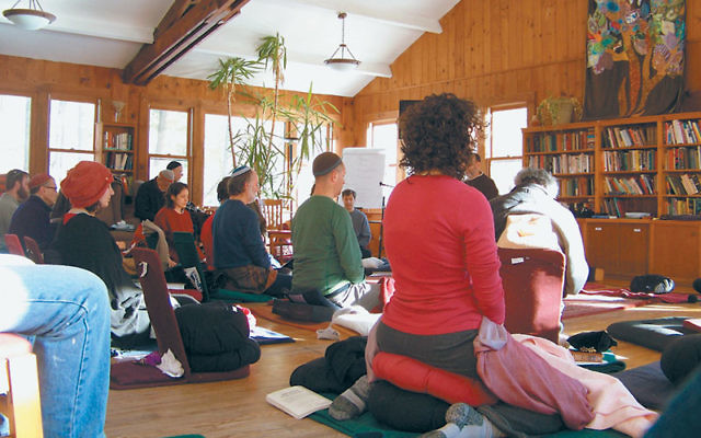 "Jewish meditation — here being practiced by a group at the Isabella Freedman Jewish Retreat Center — is being offered by the Jewish Meditation Center of Montclair as a way ""to celebrate Shabbat in a meaningful, joyous, contemporary, re"