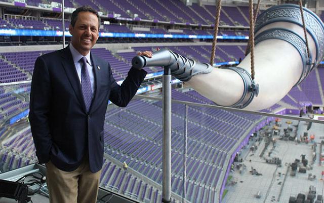 Mark Wilf, a co-owner of the Minnesota Vikings, at the team's gigantic Nordic horn in its new $1.1 billion stadium. (Hillel Kuttler)