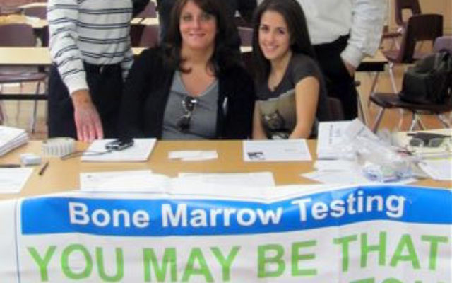 At the stem cell drive held by the Gift of Life Bone Marrow Foundation at Hillel Yeshiva High School are, from left, rear, Central NJ Gift of Life president Mel Cohen, Hillel graduate and stem cell donor Jake Mehani, head of school Rabbi Howard Bald; an