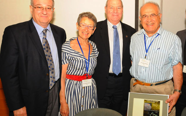 At a celebration in June marking the establishment of the small-animal fMRI system at the Technion in Haifa, benefactors Raphael Mishan, right, and his wife, Miriam, were honored by Technion president Prof. Peretz Lavie, left, and Prof. Ido Perlman, dea