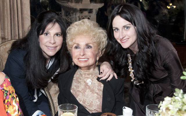 At the May 9 Evening of Pride & Inspiration are guest speaker Rebbetzin Esther Jungreis, center, with mistress of ceremonies Nancy Roberts, left, and Chani Schapiro of Chabad of the Shore. Photos by Morris Antebi