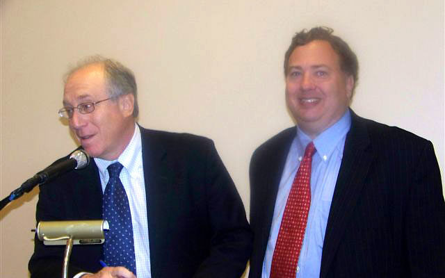 David Makovsky, right, with Martin Gross, president of the Washington Institute for Near East Policy during a Sept. 15 briefing sponsored by the Community Relations Committee of United Jewish Communities of MetroWest NJ.