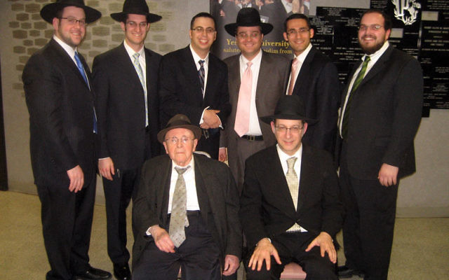Eight rabbis from Ahawas Achim B'nai Jacob & David in West Orange were feted at Yeshiva University's 2010 Chag HaSmicha, held March 7; gathering after spending Shabbat at AABJ&D are, from left, standing, AABJ&D assistant rabbi Ashe