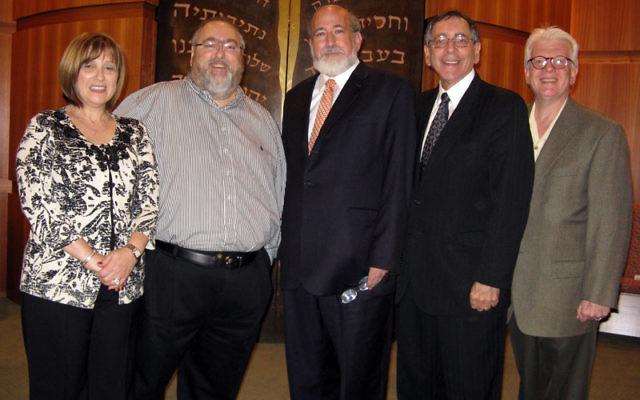 Rabbi Joseph Telushkin, center, at B'nai Shalom with, from left, Sindy and Barry Liben, hosts and sponsors of the Patrons' event before Telushkin's talk; Rabbi Stanley Asekoff; and Dr. Charles Kurtzer, president of B'nai Shalom.