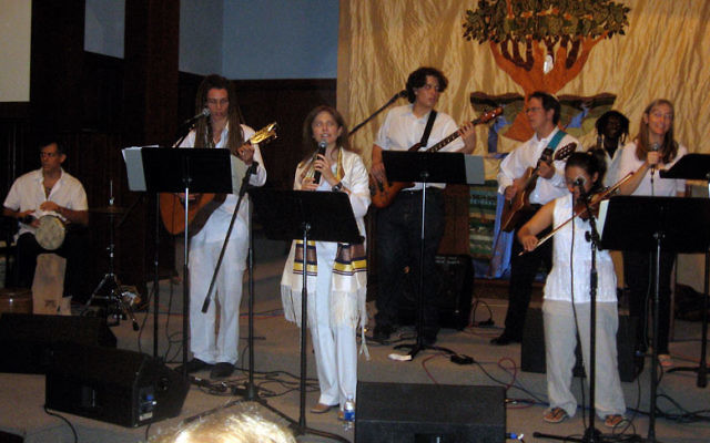 Rabbi Naomi Levy, third from left, leads the band at her Nashuva service in California. Temple Beth Ahm Yisrael in Springfield is adapting the Nashuva model for a Friday night service of its own. Photos courtesy Naomi Levy