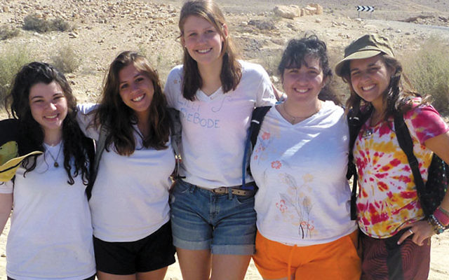 On a field trip in the Negev are girls taking part in Alexander Muss High School in Israel in February, from left, Mihal Grinberg, West Orange; Jordan Eglow, Millburn; Lilli Gottesman DeBode, Summit; Brittany Kahn, Kinnelon; and Sophie Schoenberg, Millbur