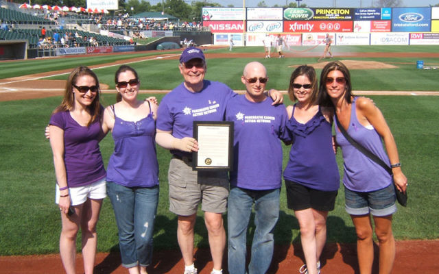 Michael Weinstein holds the Pancreatic Cancer Awareness Day proclamation issued by Bridgewater Mayor Patricia Flannery on July 10. With him are fellow volunteers, from left, Stephanie Blash, Danielle Zepp, Todd Cohen, Nicole Trella, and Debbie Herrero.