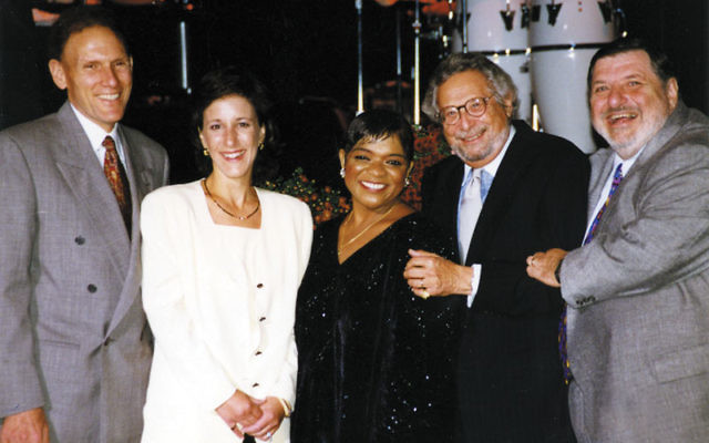 Jack Boeko, far right, at a JCC MetroWest Center for the Arts gala event in 1996 featuring entertainer Nell Carter, center.