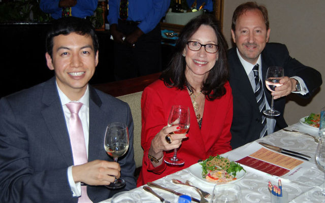 Keynote speaker Jean-Paul Le, left, joins MetroWest UJA Campaign chair Paula Saginaw and director of donor and corporate development Michael Katz at the Crestmont Country Club fund-raiser.
