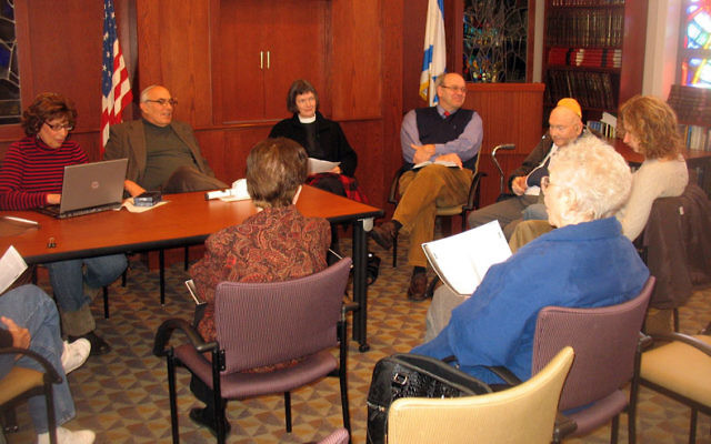 A Christian-Jewish Bible study class led by Rabbi Aaron Kriegel, second from left, the Rev. Lucy Ann Dure, and the Rev. Laurin Currie McArthur has been meeting in Verona since 2006. Photos by Johanna Ginsberg