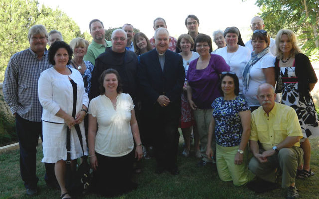 American Catholic educators meet with Papal Nuncio Antonio Franco, middle row, center, the Vatican's diplomatic representative to Israel. Ed Alster is behind Franco, partially obscured. Photos courtesy Anti-Defamation League