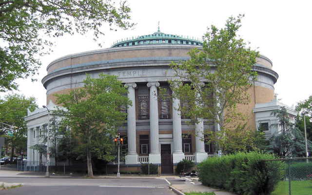 The old Temple B'nai Abraham building in Newark, now home to the Deliverance Evangelistic Center Ministries.