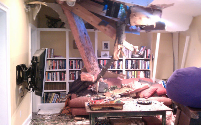 A tree toppled by high winds crashed through the roof of the Nadison home in Montclair, landing on a couch where the family spends much tine sitting together. Photo by Liz George (baristanet.com/2011/08/hurricane-irene-slams)