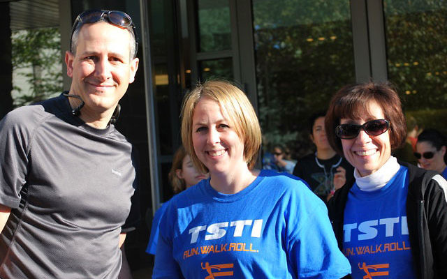 At Temple Sharey Tefilo-Israel's first 5k run are, from left, Rabbi Daniel Cohen, Rabbi Ellie Miller, and Cantor Joan Finn.