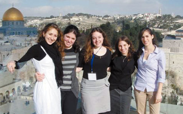 Jessica Blank of Livingston, second from left, a Hasbara fellow during her recent winter break, in Jerusalem with fellow participants, from left, Shana Weitzen, Gabriella Kigler, Hannah Ziring, and Shoshana Spiro.
