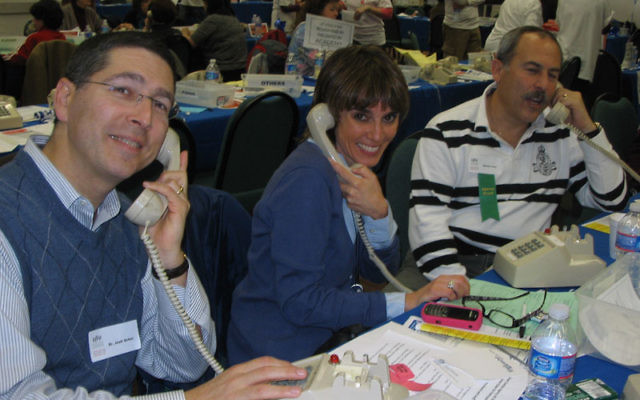 Among the Super Sunday volunteers were, from left, Dr. Josh Schor of Millburn, Randolph resident Merle Blackman, and Jewish Community Foundation of MetroWest committee member Steven D. Levy. Photos by Johanna Ginsberg