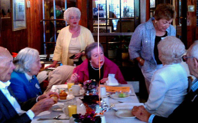 Friends gather to reminisce about their school days 72 years ago.