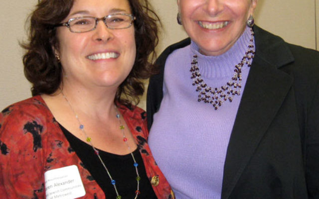 Karen Alexander, left, director of eldercare services at United Jewish Communities of MetroWest NJ, with Sara Levine, executive director of the Jewish Family & Vocational Service of Middlesex County, at the meeting in Whippany. Photo by Melissa Chal