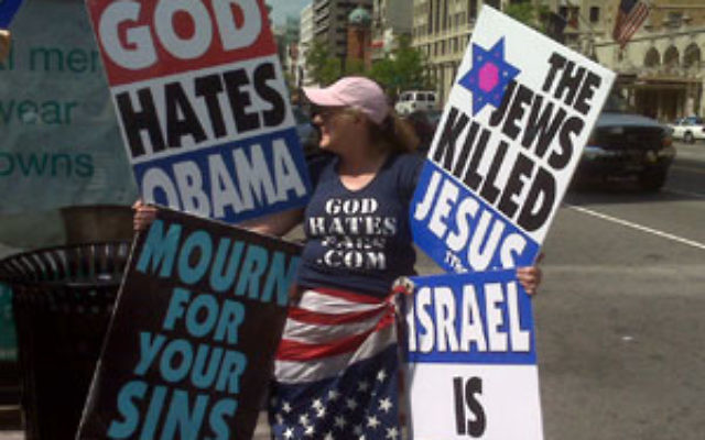 Westboro Baptist Church member Margie Phelps rails against Jews and Israel in a protest outside the Washington offices of the Anti-Defamation League on May 8.