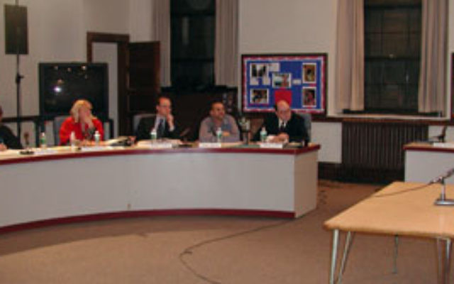 The South Orange-Maplewood School Board debates the ban on religious music in December 2004.