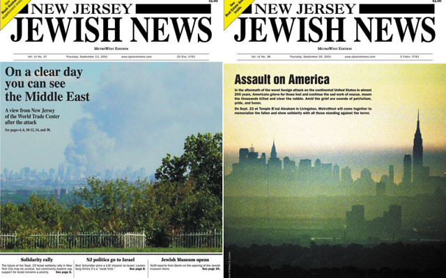 Covers from the Sept. 13, 2001 and Sept. 20, 2001 issues of New Jersey Jewish News.
