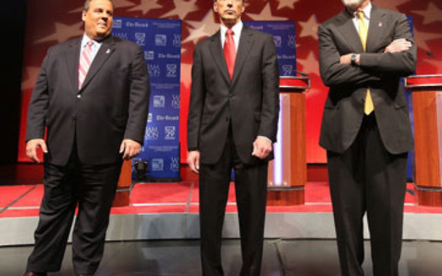Debating Oct. 16 at William Paterson University in Wayne are, from left, Chris Christie, Christopher Daggett, and Gov. Jon Corzine.