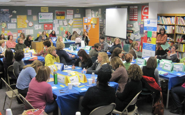 Area teachers gather Dec. 16 for a training session with the PJ Library's Iris Koller at the Aidekman campus in Whippany. Photo courtesy Partnership for Jewish Learning and Life