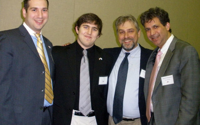 Joining Hillel International president Wayne Firestone, far right, at the Israel advocacy dinner at Rutgers University are, from left, Rutgers Hillel leaders Rabbi Akiva Weiss, Jewish Learning Initiative director; Matt Nover, education chair; and Andrew G