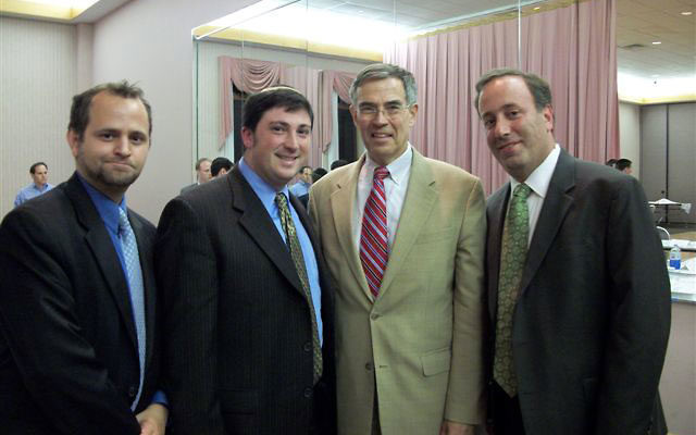 Rep. Rush Holt, third from left, at a meeting facilitated by the Orthodox Union Sept. 2 at Young Israel of East Brunswick, joins Orthodox leaders, from left, OU deputy director of public affair Maury Litwack and the congregation's Rabbi Jay Weinst