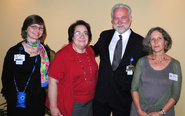 The first Rabbi Zahara Davidowitz Fellowship recipient, Adira Ben-Aharon, far right, with, from left, Tina Nummela, clinical pastoral educator, Robert Wood Johnson University Hospital; Cecille Asekoff, executive director, National Association of Jewish Ch