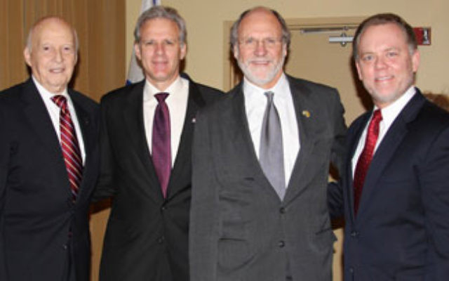 At Newark Beth Israel Medical Center, Michael Oren, Israel's ambassador to the United States, second from left, is joined by, from left, surgeon Dr. Victor Parsonnet; Gov. Jon Corzine; and Dr. John Brennan, NBIMC executive director.