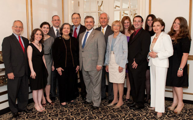 Rutgers Hillel leaders at the May 24 annual gala are, from left, front row, Mark Busch of North Brunswick, Michal Greenbaum of Hoboken, Katie Landy of Medfield, Mass., Ruth Cole of Ridgewood, executive director Andrew Getraer, Rona Shein of West End, Raff