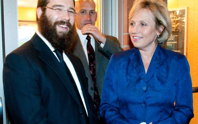 Lt. Gov. Kim Guadagno with Rabbi Laibel Schapiro of the Chabad of the Shore at its annual Hand in Hand dinner on April 25.
