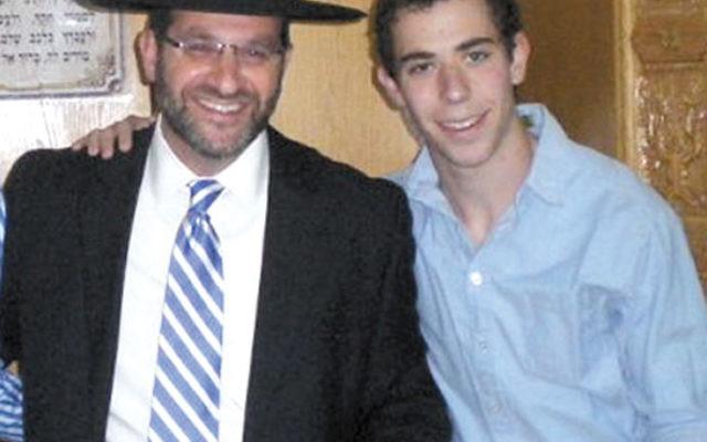 Leor Kushner with Yeshivat Sha'arei Mevaseret Zion rosh yeshiva Rav Shimon Isaacson.