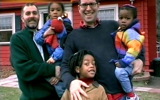 """Ian Chesir-Teran, shown, left, with his partner, Daniel, and their three children in New Jersey, opted out of a program for Conservative rabbinical students in Israel for """"reasons of conscience."""""""