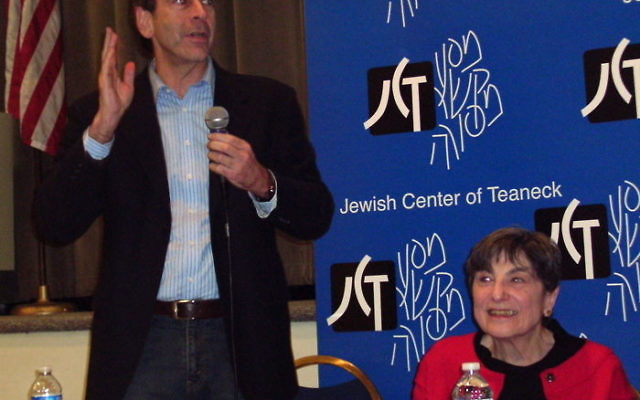 NJJN editor-in-chief Andrew Silow-Carroll speaks at a Jewish journalism panel discussion as Rebecca Boroson, editor of The Jewish Standard, looks on. Photo by Lori Silberman Brauner