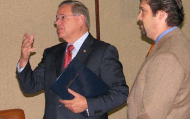 Sen. Robert Menendez, left, with Temple B'nai Jeshurun's Rabbi Matthew Gewirtz.