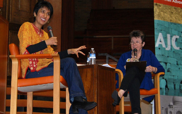 Muslim activist Irshad Manji, left, answered questions from the American Jewish Committee's Allyson Gall at a Nov. 9 talk at Congregation B'nai Jeshurun in Short Hills. Photos by Elaine Durbach