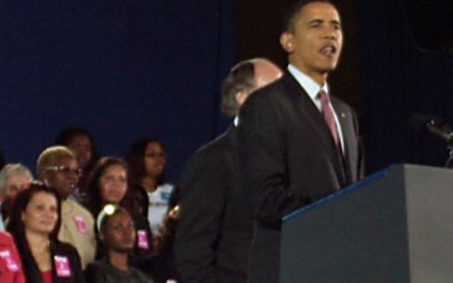 President Obama speaks at a rally endorsing the reelection of Gov. Jon Corzine.