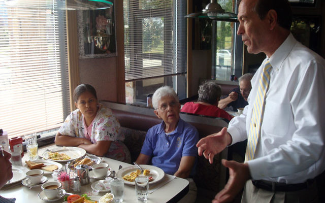 Republican Scott Garrett carries his reelection campaign to voters at a diner in River Edge. Photo courtesy Garrett for Congress